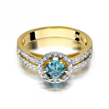 Złoty pierścionek z diamentem EY-87 topaz