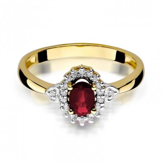 Złoty pierścionek z diamentem EY-312 rubin