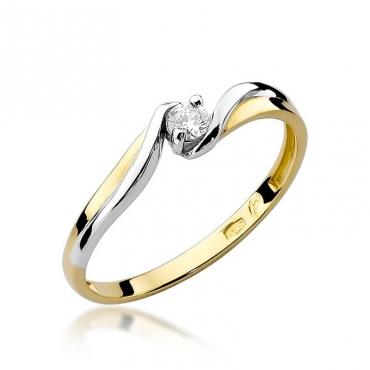Złoty pierścionek z diamentem EY-211 0,10ct