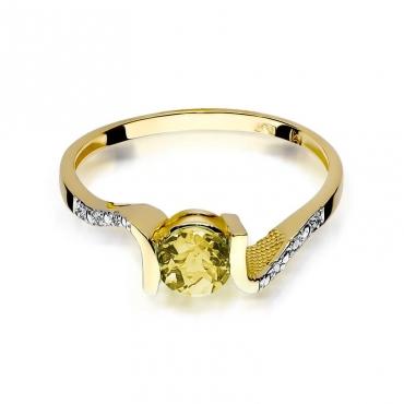Złoty pierścionek z diamentem EY-120 cytryn