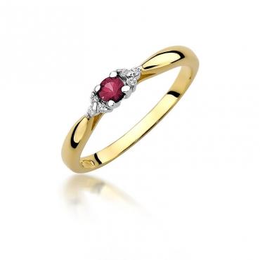 Złoty pierścionek z diamentem EY-428 rubin