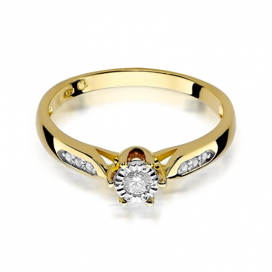 Złoty pierścionek z diamentem EY-328 0,11ct