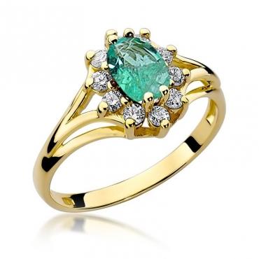 Złoty pierścionek z diamentem EY-37 szmaragd