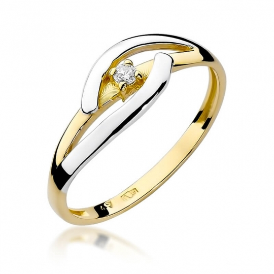 Złoty pierścionek z diamentem EY-186 0,04ct