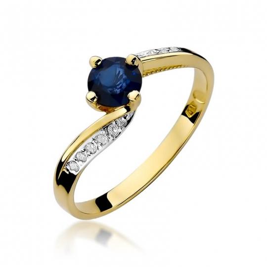 Złoty pierścionek z diamentem EY-84 szafir