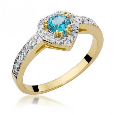 Złoty pierścionek z diamentem EY-46 topaz