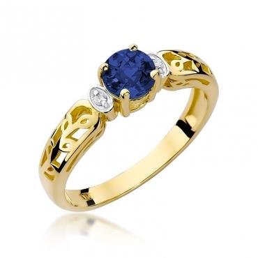 Złoty pierścionek z diamentem EY-14 szafir