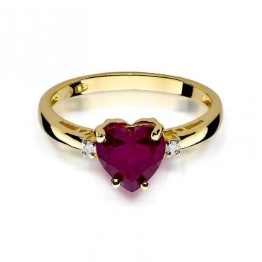 Złoty pierścionek z diamentem EY-12 rubin