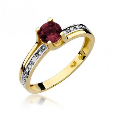 Złoty pierścionek z diamentem EY-106 granat