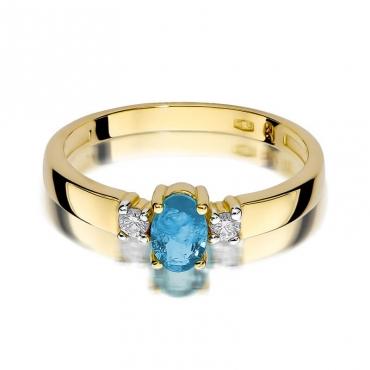 Złoty pierścionek z diamentem EY-264 topaz