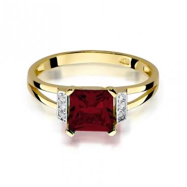 Złoty pierścionek z diamentem EY-103 granat