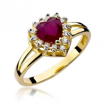 Złoty pierścionek z diamentem EY-310 rubin