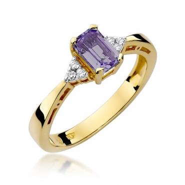 Złoty pierścionek z diamentem EY-2 ametyst