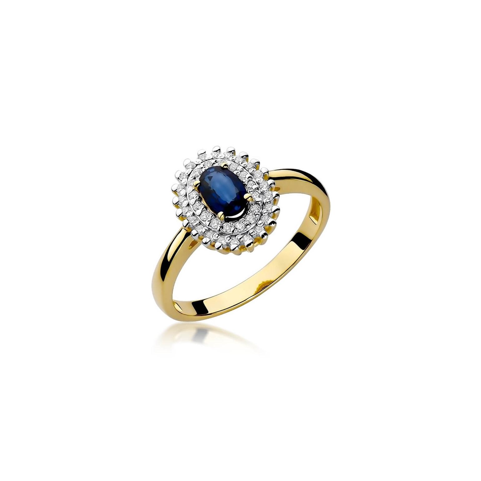 Złoty pierścionek z diamentem EY-303 szafir