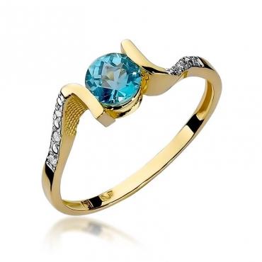 Złoty pierścionek z diamentem EY-120 topaz