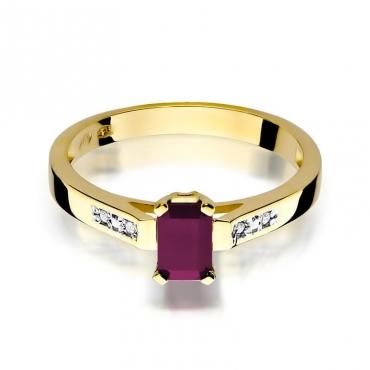 Złoty pierścionek z diamentem EY-78 rubin