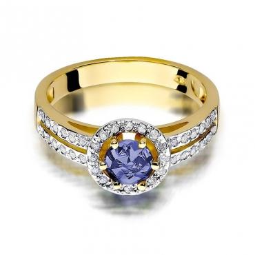 Złoty pierścionek z diamentem EY-87 tanzanit