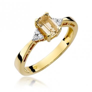Złoty pierścionek z diamentem EY-2 cytryn