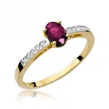 Złoty pierścionek z diamentem EY-67 rubin