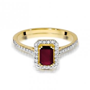 Złoty pierścionek z diamentem EY-403 rubin