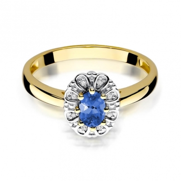 Złoty pierścionek z diamentem EY-304 tanzanit