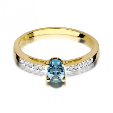 Złoty pierścionek z diamentem EY-67 topaz