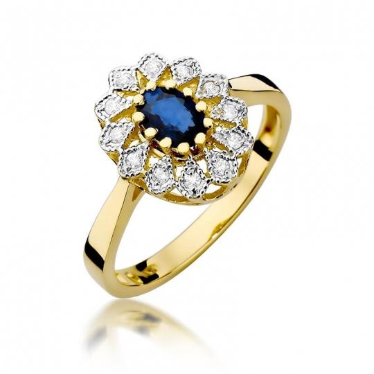 Złoty pierścionek z diamentem EY-354 szafir