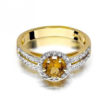 Złoty pierścionek z diamentem EY-87 cytryn