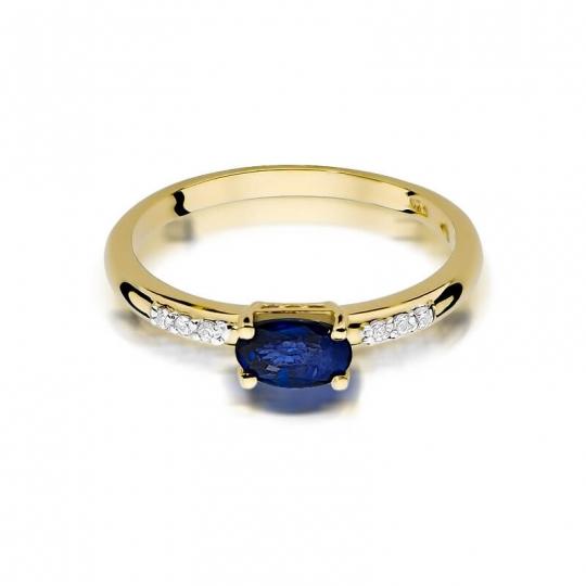 Złoty pierścionek z diamentem EY-77 szafir