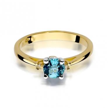 Złoty pierścionek z diamentem EY-17 topaz