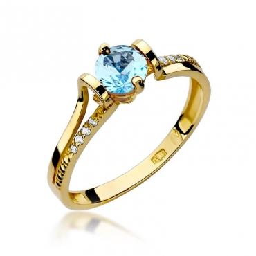 Złoty pierścionek z diamentem EY-102 topaz