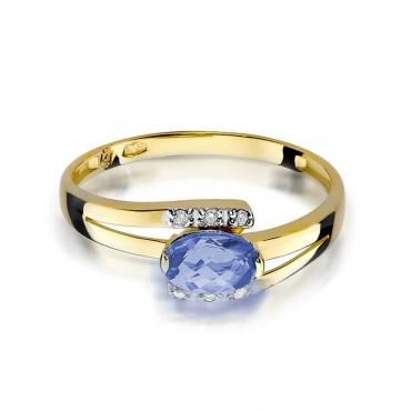 Złoty pierścionek z diamentem EY-119 tanzanit