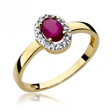 Złoty pierścionek z diamentem EY-330 rubin