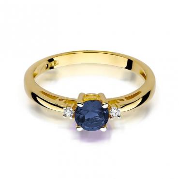 Złoty pierścionek z diamentem EY-10 szafir