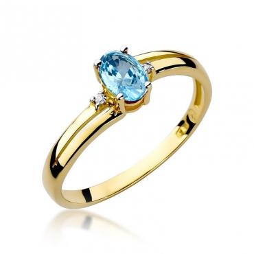 Złoty pierścionek z diamentem EY-68 topaz