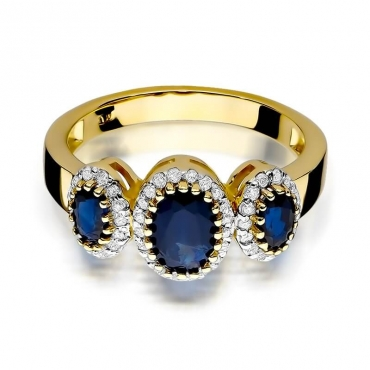 Złoty pierścionek z diamentem EY-309 szafir