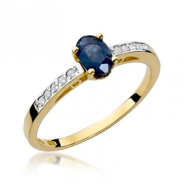 Złoty pierścionek z diamentem EY-67 szafir