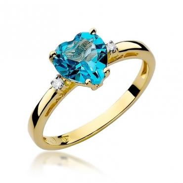 Złoty pierścionek z diamentem EY-12 topaz