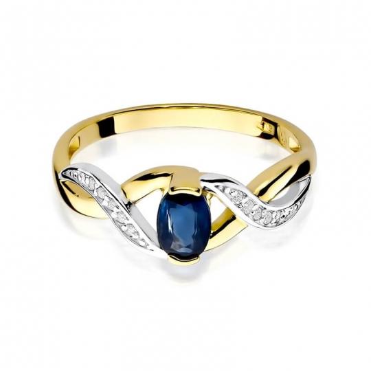 Złoty pierścionek z diamentem EY-28 szafir