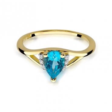 Złoty pierścionek z diamentem EY-99 topaz