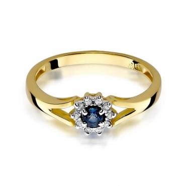 Złoty pierścionek z diamentem EY-185 szafir