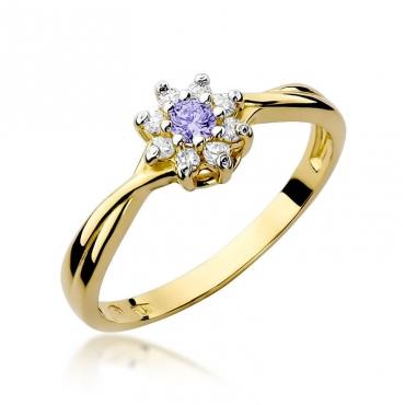Złoty pierścionek z diamentem EY-72 tanzanit