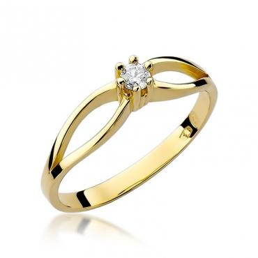 Złoty pierścionek z diamentem EY-49 0,10ct