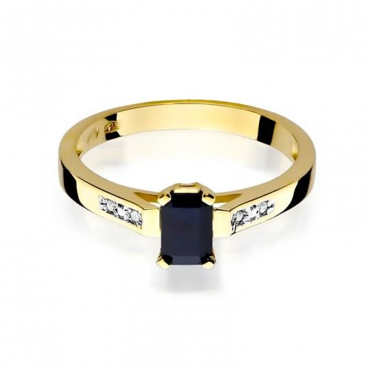 Złoty pierścionek z diamentem EY-78 szafir