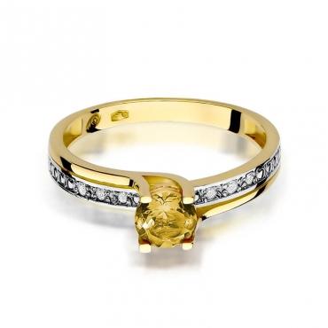 Złoty pierścionek z diamentem EY-106 cytryn
