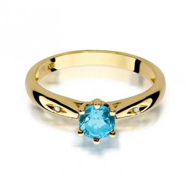 Złoty pierścionek z diamentem EY-74 topaz