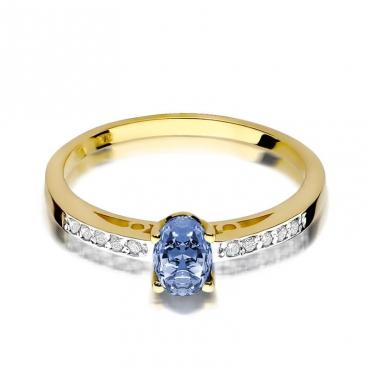 Złoty pierścionek z diamentem EY-67 tanzanit