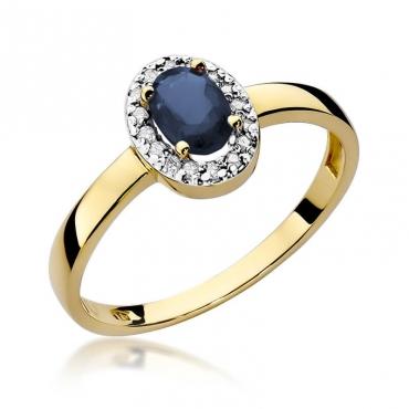 Złoty pierścionek z diamentem EY-330 szafir