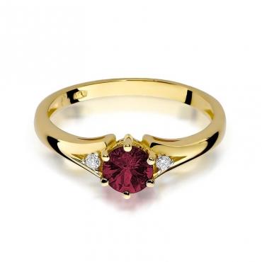 Złoty pierścionek z diamentem EY-76 rubin