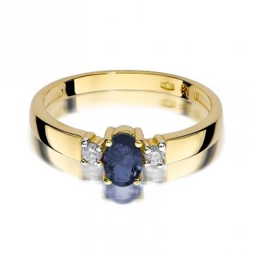 Złoty pierścionek z diamentem EY-264 szafir